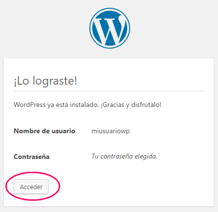 WordPress instalado con éxito