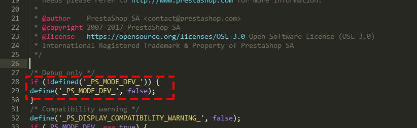 Activar el modo depuración desde código