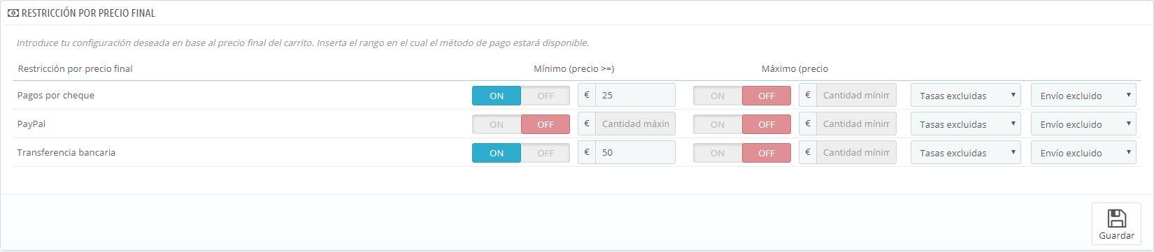 Filtrado por precio en el módulo Advanced Payment Filters de PrestaShop
