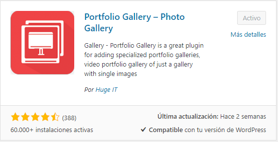 Instalar Portfolio Gallery en WordPress